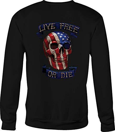 Hoody Crewneck Sweatshirt Live Free Die for Men or Women - 2XL Black ()
