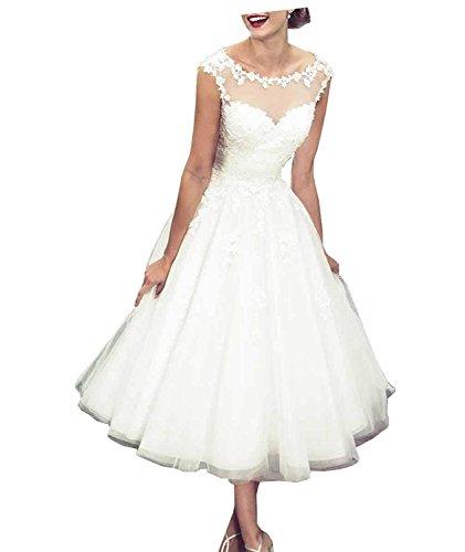 Carnivalprom Damen Ballkleid Elfenbein Brautkleid Hochzeitskleid Sheer Kurz Elegant Spitze 03 Abendkleider rd68rxq