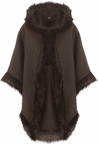 WearAll Women's Plain Faux Fur Trim Hood Cape Shawl Cloak Poncho Coat Top 8-20