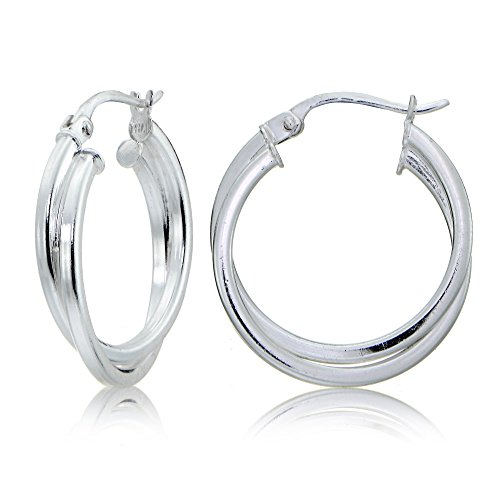 Sterling Silver Square-Tube Intertwined 25mm Double Round Hoop Earrings (Round Mm 25 Hoop)
