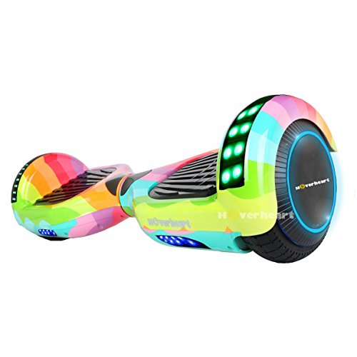 "Hoverboard Two-Wheel Self Balancing Electric Scooter 6.5"" UL 2272 Certified, Print Coating with Bluetooth Speaker and LED Light (Rainbow Wave)"