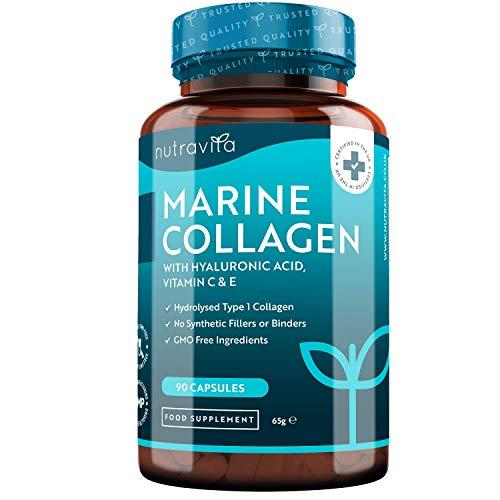 Colágeno Marino Dosis Alta 1000 mg, Ácido Hialurónico, Vitamina C y E | 90 cápsulas | Biodisponibilidad superior | fabricado por Nutravita a buen precio