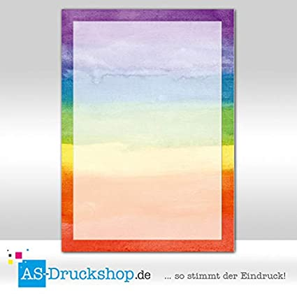 Diseño Papel arco iris - acuarela/100 hojas/DIN A4/90 g de ...