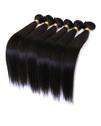 100% Brazilian Hair Extensions, Real Human Remy Virgin Weave 6A, 100g per bundle (10 inches in Straight, Natural colour (1B)) by UNIQUE TOUCH