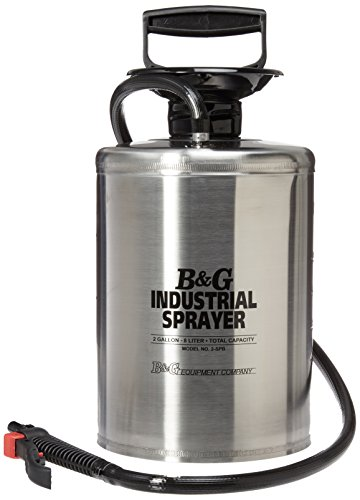 "B & G Equipment 12012500 Stainless Steel Industrial Sprayer, 2 gals, Adjustable and Fan Tip, 12"" Brass Extension, 40"" Hose, Funnel Top, Braided Chemical Resistant Hose, Stainless Steel"