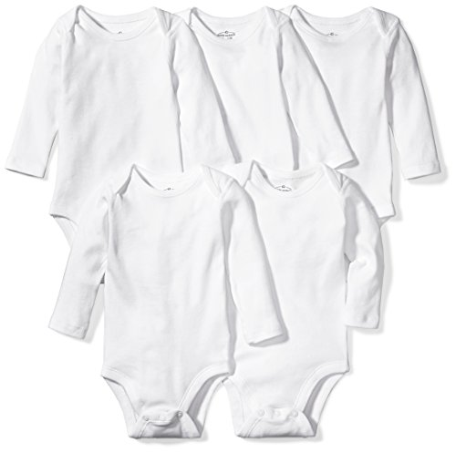 3 Piece Long Sleeve Onesie (Moon and Back Baby Set Of 5 Organic Long-Sleeve Bodysuits, White Cloud, 3-6 Months)