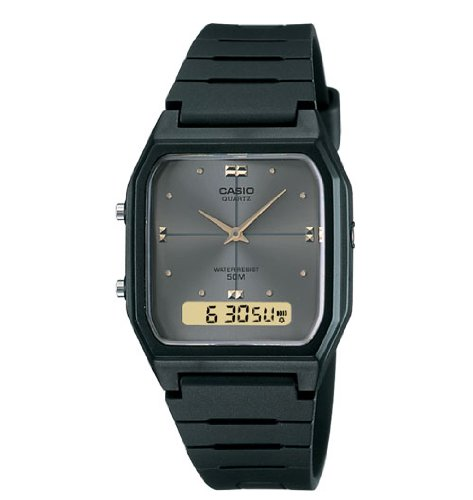 Casio Men's AW48HE-8AV Black Ana-Digi Dual-Time Watch