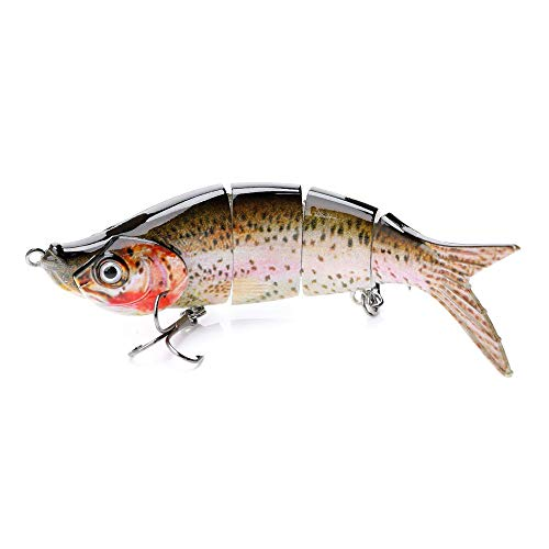 VTAVTA Topwater Bass Fishing Lures Multi Jointed Trout Bait Crankbaits Popper Life-Like Fish Tackle Kits (Rainbow Color)