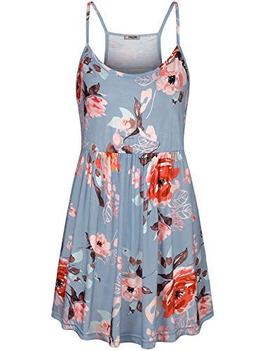 (Hibelle Layering Tank Tops for Women, Ladies Floral Printed Baby Doll Shirts Summer Spaghetti Strap Racerback Pleated Empire Waist Camisole Mini Dress Cute Cami Blouse Blue Large)