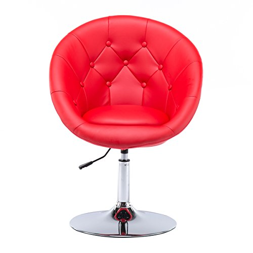 Red Leather Living Room (Round Back Leather Swivel Height Adjustable Office Chair Living Room Sofa Dining Bar Stools by Chiming, Red)