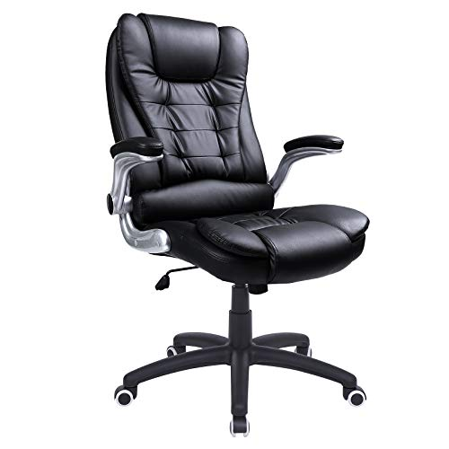 SONGMICS Office Chair with Thick Seat and Adjustable Armrest Tilt Function Executive Swivel Computer Chair Black UOBG51B