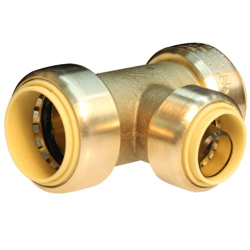 Push Connect PC825 3/4-Inch Push by 1/2-Inch Push by 3/4-Inch Push, Brass Push Fit Tee