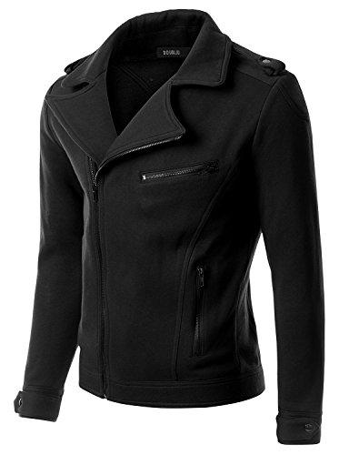 Doublju Mens Casual Asymmetrical Zip Up Rider Jacket, Black, XL
