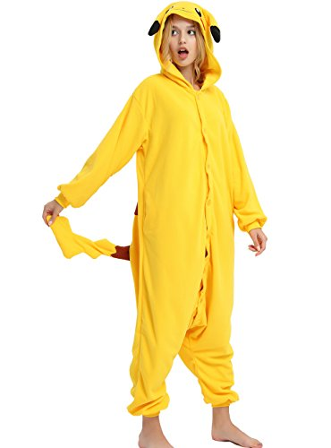 Es Unico Pokemon Pikachu Onesie for Adult and Teenagers. Halloween Pajama Costume(Large)