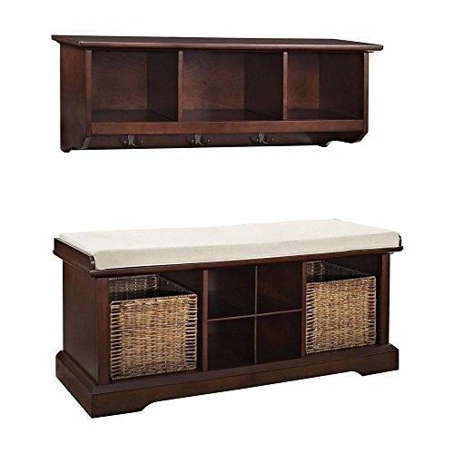 crosley-brennan-2-piece-entryway-bench-and-shelf-set-mahogany
