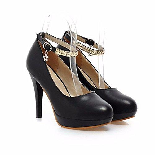 único Rojo de Zapato Talón Zapatos Talón Tacón Impermeable Soporte Black x18qBv