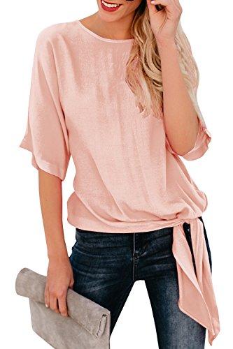 Dellytop Womens Summer Short Sleeve Tops Tie Front Chiffon Blouses Loose Plain Shirts