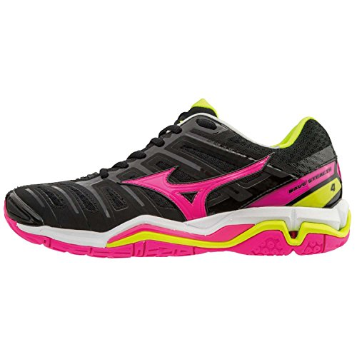 Chaussures femme Mizuno Wave Stealth 4 Black/PinkGlo/SYellow