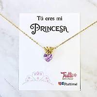 Tutti Joyería - Collar de Princesa Corona con Corazón Swarovski Lila - Princess Crown Necklace with Lilac Swarovski Heart - Collar Princesa - Princess necklace