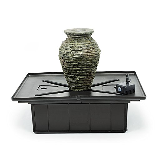 Aquascape 58060 Pump, Tubing and Basin Stacked Slate Urn Water Fountain Kit, 9-inch x 13-1 2 inches Diameter x Height