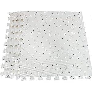 White with Stars Interlocking Floor Foam Mats Living Room Kids Playmat Gardan Yoga Exercise Gym Gymnastic Children's Bed…
