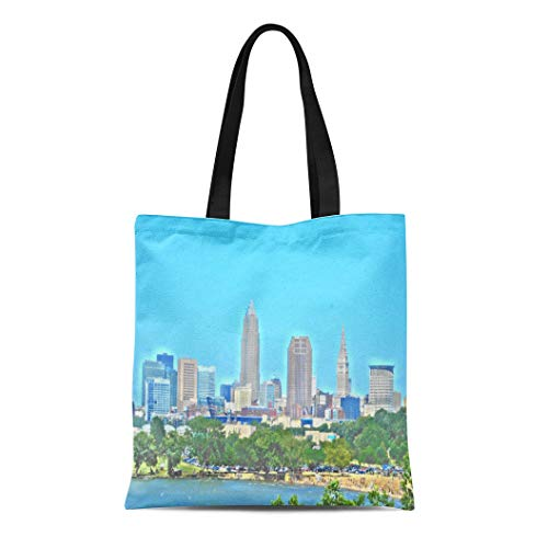 (Semtomn Cotton Line Canvas Tote Bag Ohio Lake Skyline Cleveland Oh City Buildings Urban Reusable Handbag Shoulder Grocery Shopping Bags)