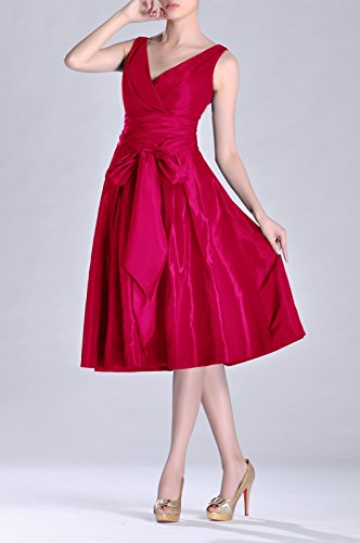line Pleated Tea bridesmaids Dress Formal V Fuchsia Taffeta Bridesmaid A neck Modest Length ptAxqRTw