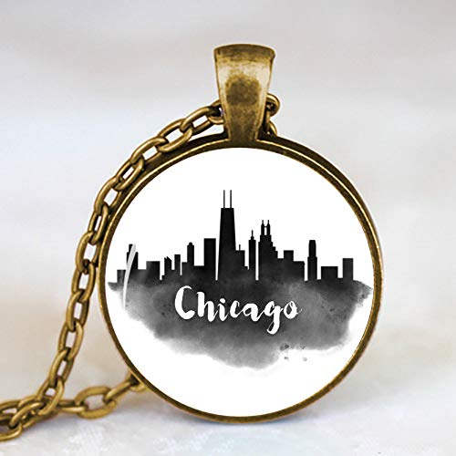 Minimalism Ink City Silhouette Picture Necklace Fashion Antique Bronze Necklace Chicago Detroit San Diego Seattle Houston Buenos