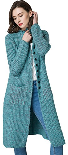 KUBITU Women's Casual Button Front Long Sleeved Chunky Knit Plus Size Sweater Cardigan Outwear with Pocket Large Blue