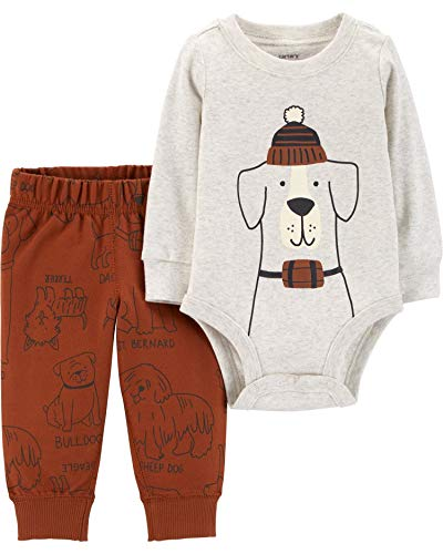 Carter's Baby Boys' Bodysuit Pant Sets (Rust/Dogs, 3 Months)