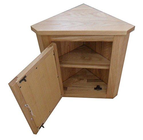 Clickbasin Tall Corner Solid Oak Wall Hung Bathroom Mirror Cabinet 600mm X 425mm