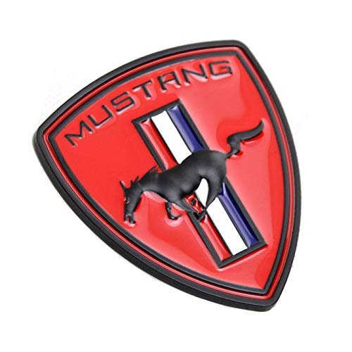 (TOPOND Red Metal Running Horse Pony Car Door Fender Badge Hood Head Tailgate Emblem Rear Decal Sticker For Ford Mustang GT Accessories)