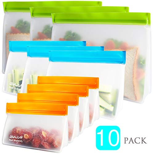 Reusable Sandwich Bags (Set of 10) - Reusable Snack Bags For Kids. Premium Reusable Ziplock Bag for Food Storage, Reusable Lunch Bags For Women. Keeps Food Fresh. Lunch Baggies are Freezer Safe