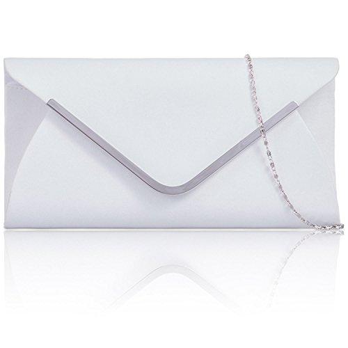 Xardi London finto camoscio busta sera Prom borse da donna in pelle donne pochette baguette White