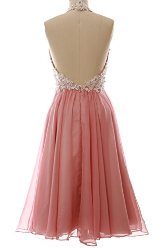 MACloth Gorgeous Short Prom Homecoming Dress Halter Wedding Party Formal Gown Cielo azul