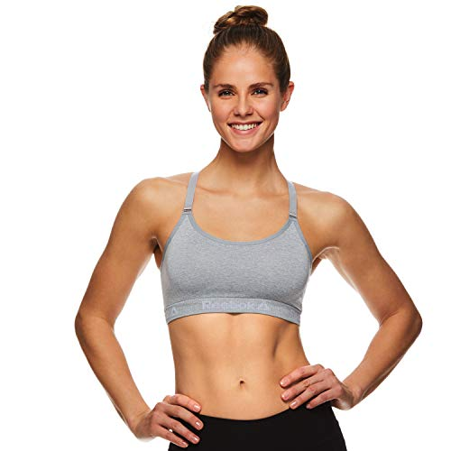 Reebok Women's Wireless Racerback Sports Bra - Medium Impact Seamless Workout Bralette - Illusion Grey Heather, Large (Impact Sports Medium Reebok Bra)