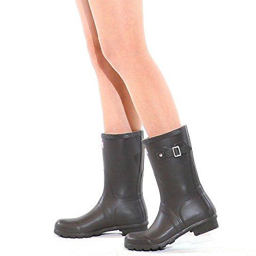 Paperplanes-1193-1 Trendy Middle Wellington Garden Women Rain Boots Chocolate EysDCq