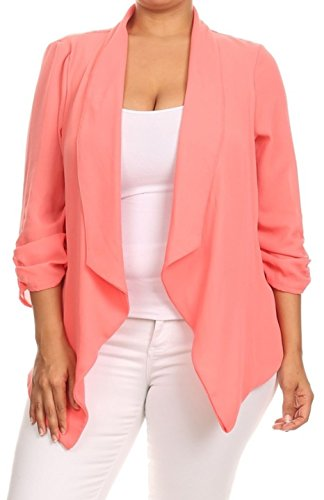 2LUV Plus Women's Open Front Gathered Sleeve Plus Size Blazer – X-Large, Pink