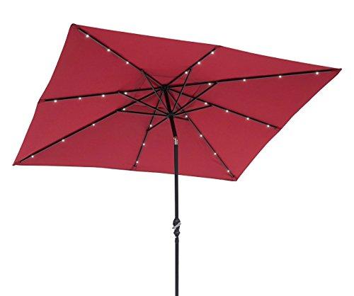 EdenBranch Rectangular Solar Lighted Umbrella, Dusk to Dawn, 8 Rib, Scarlet Red, 32 Super Bright LED, Hand Crank, Push-Button Tilt, Stand Not Included, 811025