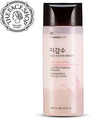 [THEFACESHOP] Oil-Free Liquid Eye Makeup Remover, Natural Rice Water Lipstick, Waterproof Mascara & Eyeliner Removal - 120 mL / 4 Oz