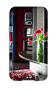 New Style CaseyKBrown Menswear Inspired Fabrics In Masculine Red And Gray Bar Premium Tpu Cover Case For Galaxy S5