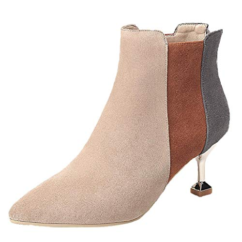 Italian Style Stiletto - REYO Women Waterproof Winter Boots Stiletto Pointed Toe Scrubs Mixed Colors Ankle Casual uugs Walking Shoes