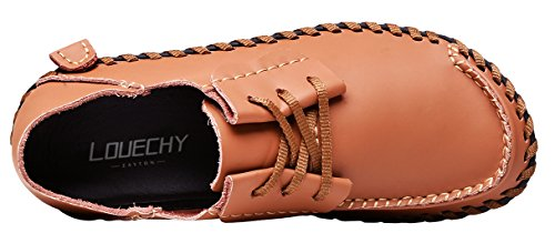 Leather Shoes Shoes Mens LOUECHY Driving Up Achicle Soft Walking Flats Casual Shoes Wide Brown Loafers Lace faqzn6q