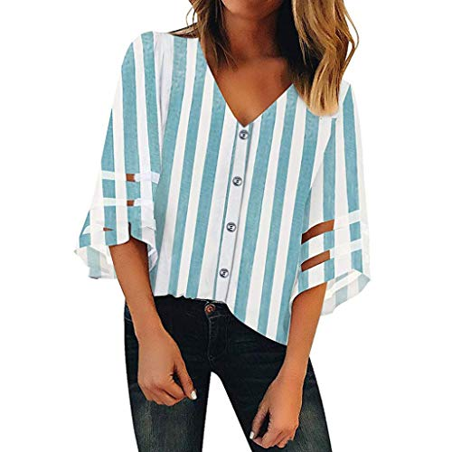 YOcheerful Women's Tops V-Neck Mesh Panel Blouse 3/4 Bell Sleeve Casual Loose Top Elegant Flowy Shirt