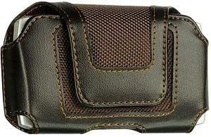 Quaroth Samsung Conquer 4G Leather With Fabric Combo Case Pouch Brown Built In Belt Clip With Velcro Closure