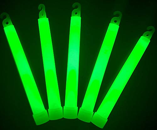 "(Glow Sticks Bulk Wholesale, 100 6"" Industrial Grade Green Light Sticks, Bright Color, Glow 12-14 Hrs, Safety Glow Stick with 3-Year Shelf Life, GlowWithUs)"