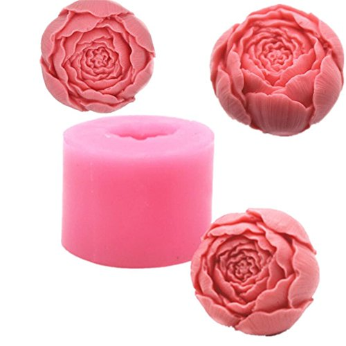 Floral Round Rose - Floral Rose Shape Round Soap Mold, Silicone Chocolate Mould Tray, Homemade Soap Making Mold, DIY Craft Art Mold, Candle Making Molding Tool, Cake Decration Baking Mold for Valentine's Day Wedding