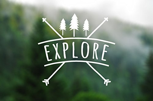 Explore Wanderlust Decal Vinyl Sticker|Cars Trucks Vans Walls Laptop| White |5.5 x 5.25 in|CCI1309