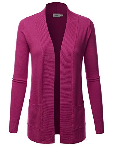 LALABEE Women's Open Front Pockets Knit Long Sleeve Sweater Cardigan-Magenta-XL
