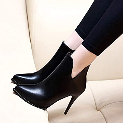 GTVERNH Womens Shoes//Short Boots Winter High Heels 9Cm Pointy Boots Ankle Boots Thin Martin Boots V Mouth.